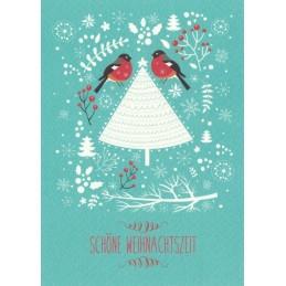 Schöne Weihnachtszeit: Vögelchen - Weihnachtspostkarte