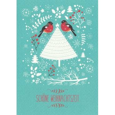 Schöne Weihnachtszeit: Vögelchen - Postkarte