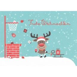 Frohe Weihnachten: Rentier mit Schlitten - Weihnachtspostkarte