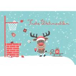 Merry Christmas: Reindeer with Sledge - Postcard