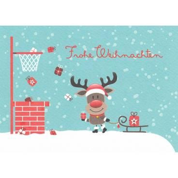 Frohe Weihnachten: Rentier mit Schlitten - Postkarte
