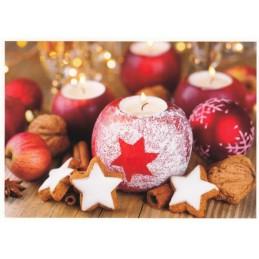 Weihnachtsdekoration: Kerzen und Zimtsterne - Weihnachtspostkarte