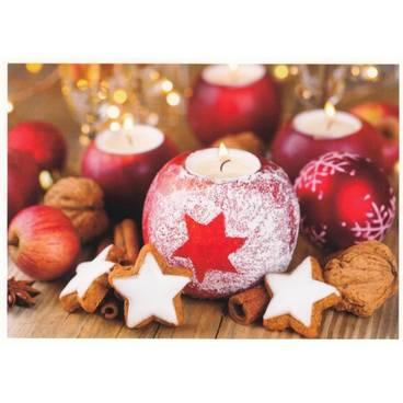 Weihnachtsdekoration: Kerzen und Zimtsterne - Postkarte