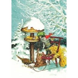 222 - Dwarf feeding Birds - postcard
