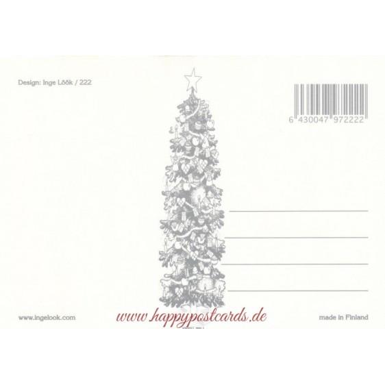 222 - Zwerg füttert Vögel im Schnee - Postkarte