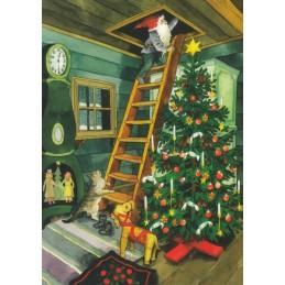 220 - Dwarf on Ladder - postcard