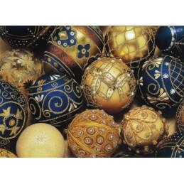 Weihnachtsbaumkugeln mit Glimmer - Weihnachtspostkarte
