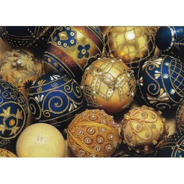 Weihnachtsbaumkugeln mit Glimmer - Postkarte