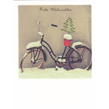 Bicycle in snow/ Merry Xmas - PolaCard