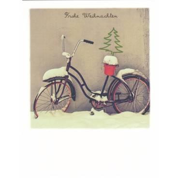 Rad im Schnee/ Frohe Weihnachten - PolaCard