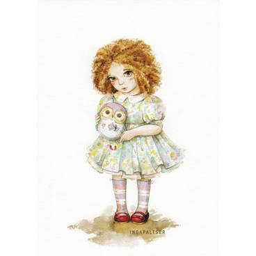 Little Girl with Owl -Paltser - Postcard