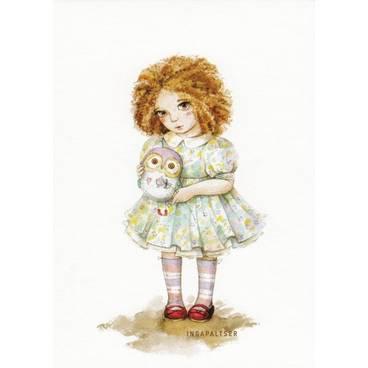 Mädchen mit Eule - Paltser Postkarte