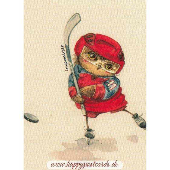 Hockey Player Owl -Paltser - Postcard