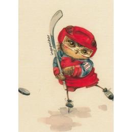 Hockey Player Owl -Paltser - Postcard