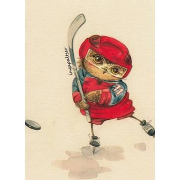 Hockeyspieler - Eule - Paltser Postkarte