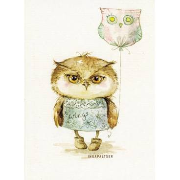 Owl with Balloon -Paltser - Postcard