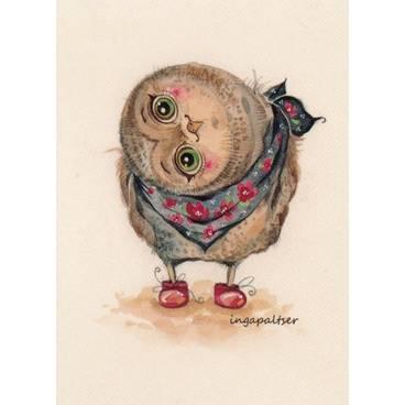 Curious Owl -Paltser - Postcard