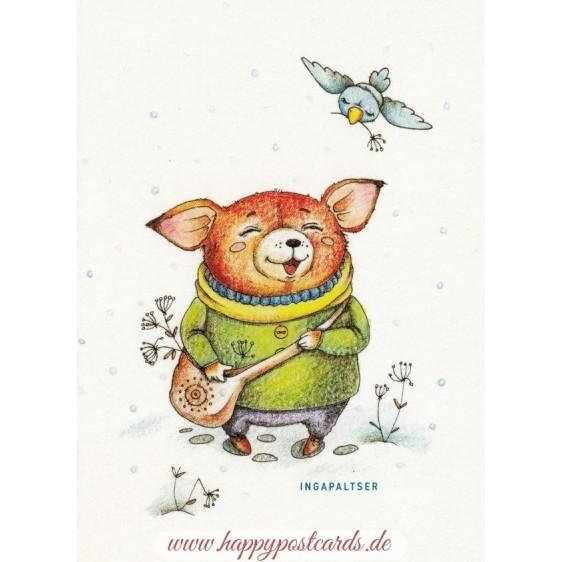 Fröhlicher Bär - Paltser Postkarte
