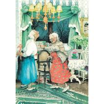 7 - Old Ladies with Candy canes - postcard