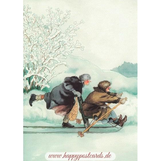 2 - Frauen mit Schlitten - Postkarte