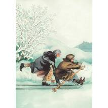 2 - Old Ladies with a Sledge - postcard