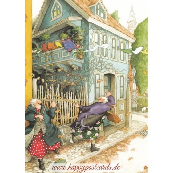 35 - Frauen mit Herbst - Postkarte