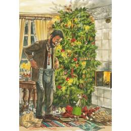 Weihnachtsbescherung mit Findus - Postkarte
