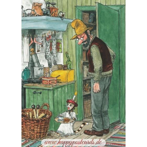 Findus mit Lucia-Maskierung - Postkarte