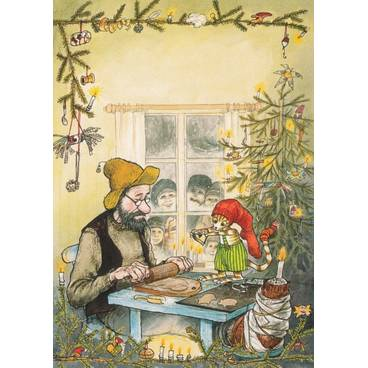 Pettersson makes Christmas Cookis - Postcard