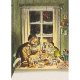 Pettersson beim Essen mit Findus - Postkarte