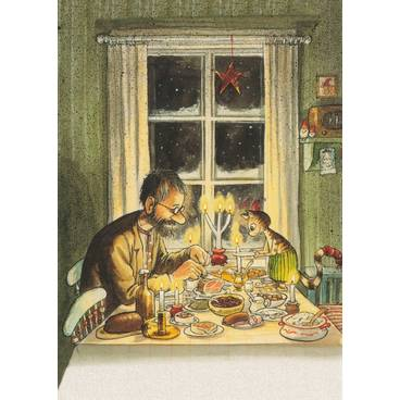Pettersson eating with Findus - Postcard