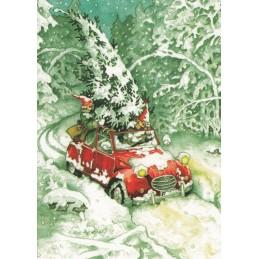 25 - Frauen und Weihnachtsbaum im Auto - Postkarte