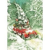 25 - Old Ladies and Christmas Tree in Car - postcard
