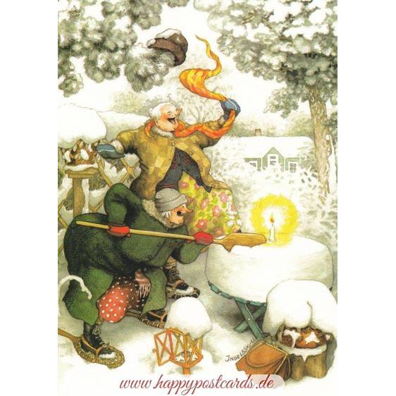 33 - Old Ladies and Candle in Snow - postcard