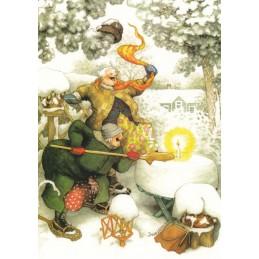33 - Frauen und Kerze im Schnee - Postkarte