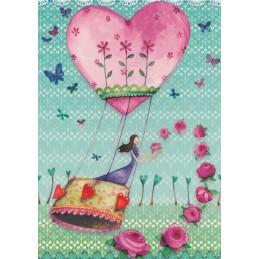 Woman in heartshaped Hot air balloon - Mila Marquis Postcard