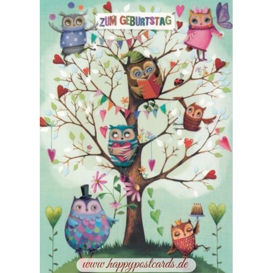 Zum Geburtstag - Owls - Mila Marquis Postcard
