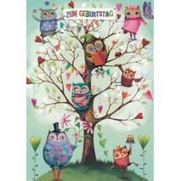 Zum Geburtstag - Eulen - Mila Marquis Postkarte