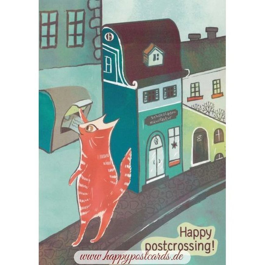 Happy Postcrossing Cat - Postcard series